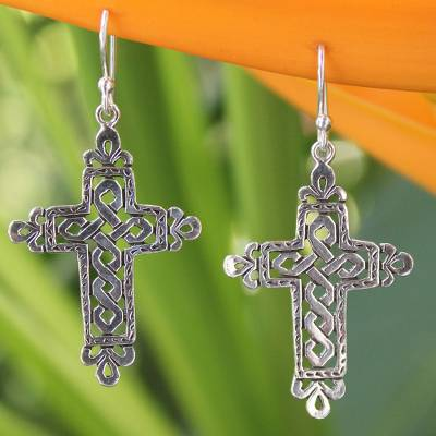 Sterling silver dangle earrings, 'Cross of Legends' - Sterling Silver Religious Earrings