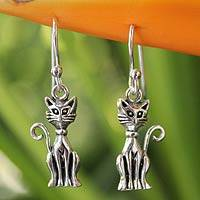 Sterling silver dangle earrings, 'Feline Fantasy' - Cat Dangle Earrings