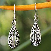 Sterling silver dangle earrings, 'Thai Fantasy' - Unique Sterling Silver Dangle Earrings