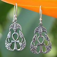 Sterling silver dangle earrings, 'Blossoming Ankh' - Handcrafted Sterling Silver Dangle Earrings