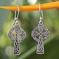 Sterling silver dangle earrings, 'Celtic Cross'