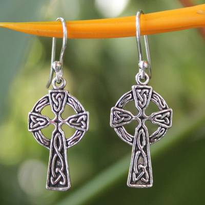 Sterling silver dangle earrings, 'Celtic Cross' - Sterling Silver Religious Dangle Earrings