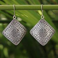 Sterling silver dangle earrings, 'Hill Tribe Flower' - Thai Sterling Silver Dangle Earrings