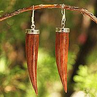 Wood dangle earrings, 'All About Luck' - Handmade Mango Wood Dangle Earrings