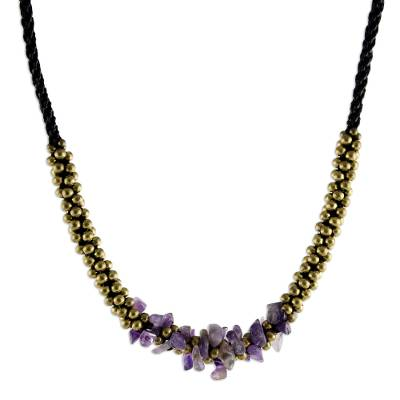Artisan Crafted Brass Beaded Amethyst Necklace