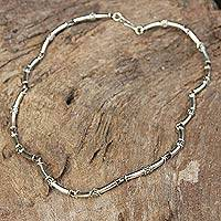Sterling silver chain necklace, 'Bamboo'