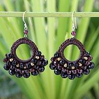 Garnet and agate dangle earrings, 'Black Lanna' - Brass Beaded Agate Earrings