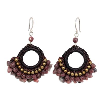 Rhodonite dangle earrings, 'Rose Lanna' - Handcrafted Rhodonite Dangle Earrings