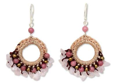 Rose Quartz and Rhodonite Beaded Earrings