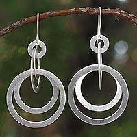 Sterling silver dangle earrings, 'Mekong Moon'