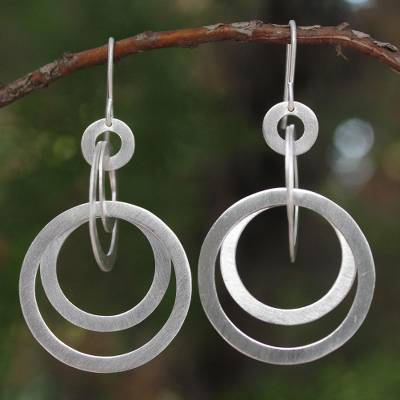 Sterling silver dangle earrings, 'Mekong Moon' - Unique Sterling Silver Dangle Earrings