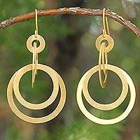 Gold plated dangle earrings, 'Mekong Sun'