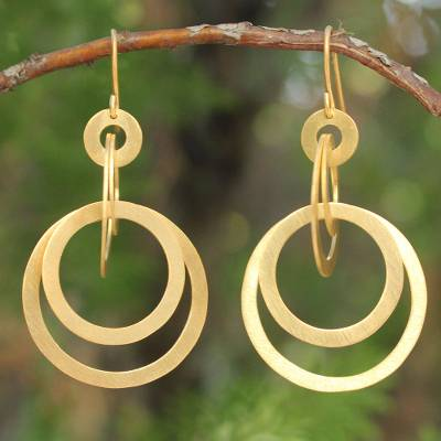 Gold Plated Dangle Earrings Mekong Sun Thai 24k