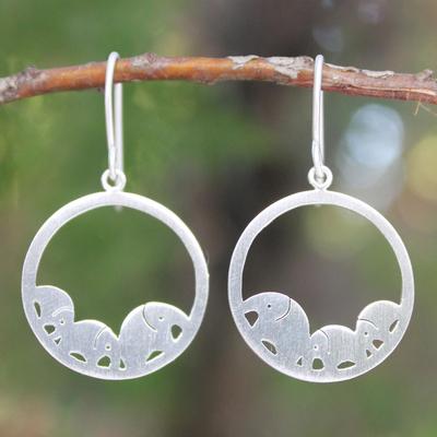 Sterling silver dangle earrings, 'Elephant Journeys' - Sterling Silver Dangle Earrings