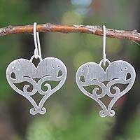 Sterling silver heart earrings, 'Elephant Sweethearts' - Sterling Silver Heart Earrings