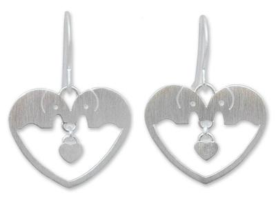 Sterling silver heart earrings, 'Elephants in Love' - Sterling Silver Dangle Earrings