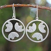 Sterling silver dangle earrings, 'Moonlight Elephants' - Handcrafted Sterling Silver Dangle Earrings