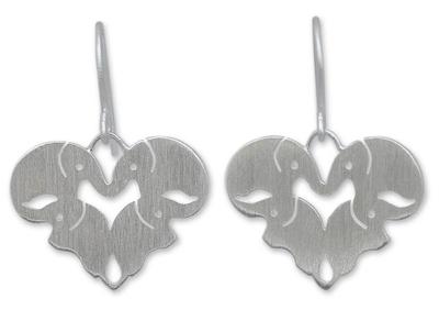 Sterling silver heart earrings, 'Sweetheart Elephants' - Unique Sterling Silver Elephant Dangle Earrings