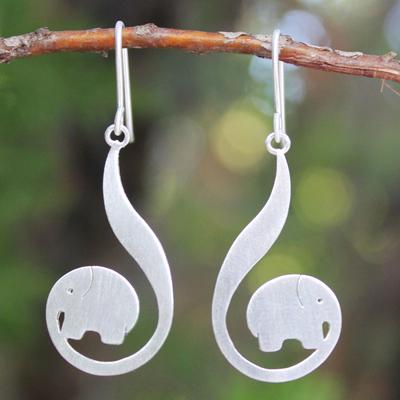 Sterling silver dangle earrings, 'Surreal Elephants' - Modern Sterling Silver Dangle Earrings