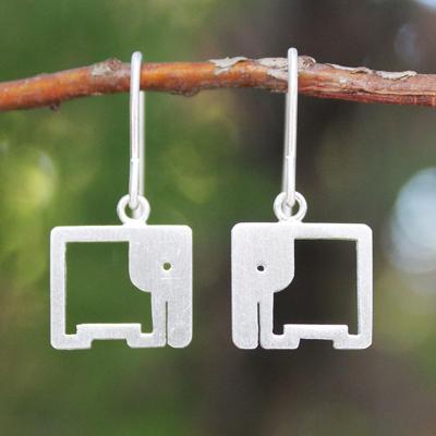Sterling silver dangle earrings, 'Naif Elephants' - Sterling Silver Dangle Earrings