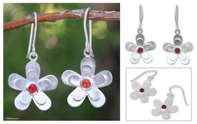 Carnelian flower earrings, 'Sunlit Frangipanis' - Hand Crafted Sterling Silver and Carnelian Dangle Earrings