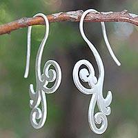Sterling silver drop earrings, 'Enamored' - Modern Sterling Silver Drop Earrings