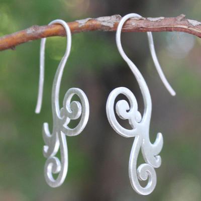 Sterling silver drop earrings, 'Enamored' - Modern Sterling Silver Drop Earrings