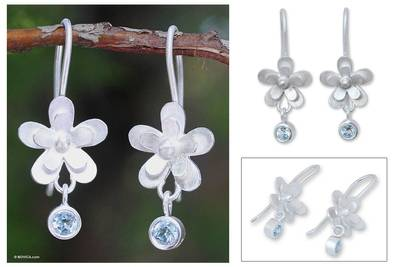 Blue topaz flower earrings, 'Frangipani Dew' - Hand Crafted Silver and Blue Topaz Flower Earrings