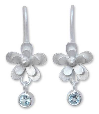 Hand Crafted Silver and Blue Topaz Flower Earrings