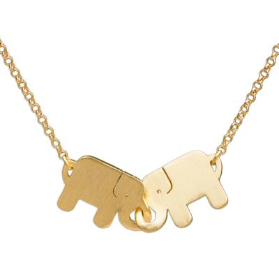 Gold plated pendant necklace, 'Elephant Friendship' - Gold Plated Pendant Necklace