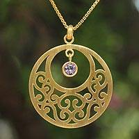 Gold plated amethyst floral necklace, 'Lanna Moon' - Gold plated amethyst floral necklace