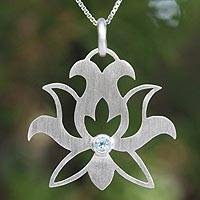 Blue topaz flower necklace, 'Lotus Purity'