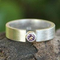Amethyst solitaire ring, 'Lanna Belle' - Amethyst and Silver Solitaire Ring