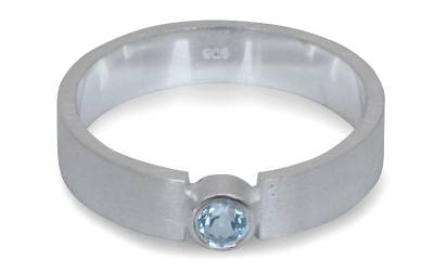 Blue topaz solitaire ring, 'Lanna Belle' - Hand Made Sterling Silver and Blue Topaz Ring