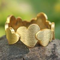 Gold plated heart ring, 'Much Love' - Handcrafted Hearts Gold Plated Ring