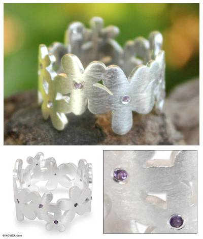Amethyst flower ring, 'Mystical Frangipani' - Unique Floral Amethyst and Sterling Silver Band Ring