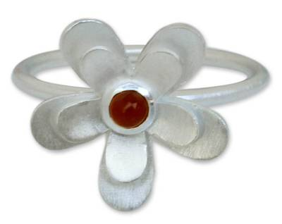Hand Made Floral Sterling Silver and Carnelian Cocktail Ring