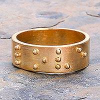 Gold plated band ring, 'Braille Love'
