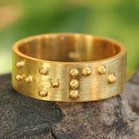 Gold plated band ring, 'Braille Hope' - Gold plated band ring