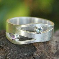 Amethyst and blue topaz band ring, 'Revelations' - Amethyst and Blue Topaz Silver Ring