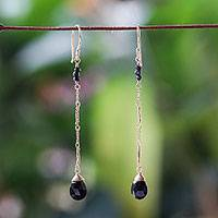 Gold plated onyx dangle earrings, 'Lanna Chimes' - Gold Plated Onyx Dangle Earrings