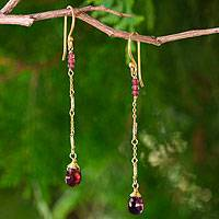 Gold plated garnet dangle earrings, 'Lanna Chimes' - Handmade Gold Plated Silver Garnet Dangle Earrings