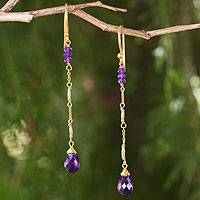 Gold plated amethyst dangle earrings, 'Lanna Chimes' - Artisan Crafted Gold Plated Silver Amethyst Earrings