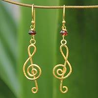 Gold vermeil garnet chandelier earrings, 'Thai Melody' - Handmade Gold Vermeil Garnet Earrings