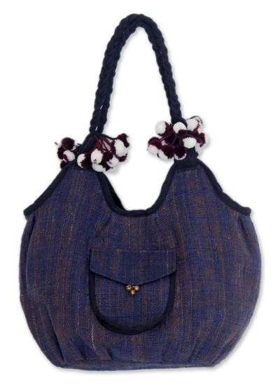 Novica Cotton hobo bag, Chiang Rai Winter - Handcrafted Cotton Hobo Handbag from Thailand
