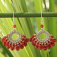 Carnelian dangle earrings, 'Orange Lanna' - Carnelian Beaded Earrings Handmade in Thailand