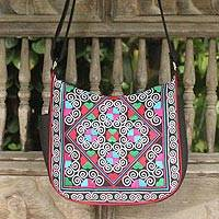 Cotton shoulder bag, 'Hill Tribe Kaleidoscope' - Hand Made Floral Cotton Shoulder Bag