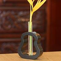 Mango wood and pewter vase, 'Daisy Trends' - Imaginative Thai Mango Wood and Glass Vase