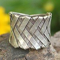 Sterling silver band ring, 'Mae Ping Hug'
