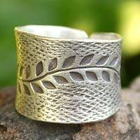 Sterling silver band ring, 'Leaf Garland'